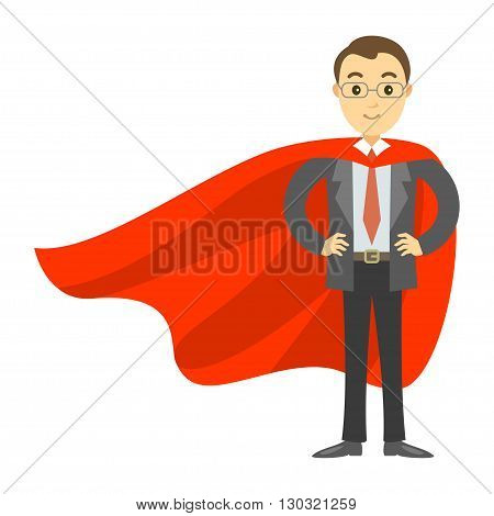 Superhero businessman in red cape. Concept of success leadership and victory in business. Vector illustration