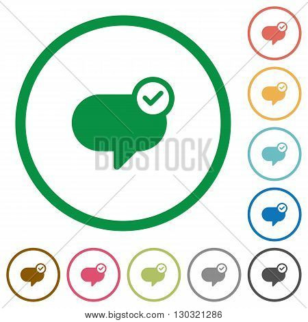 Set of Message sent color round outlined flat icons on white background