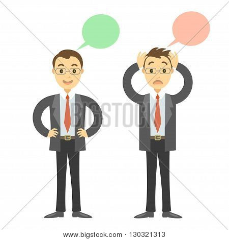 Two businessmen in different poses sad and happy businessmen. Concept of success or falling in business. Cartoon vector businessmen