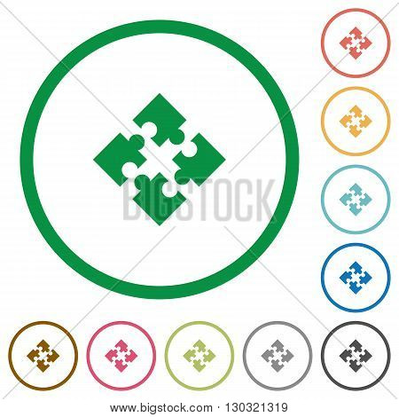 Set of modules color round outlined flat icons on white background