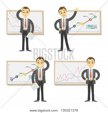 Vector set of businessmen on the background of the graph. Cartoon businessman and graph. Concept of success and failing in business