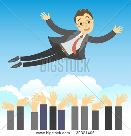 Successful businessman being throwing in the air by his teamwork. Concept of success leadership and team work in business. Cartoon vector businessman in flying