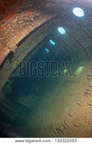 Inside Umbria Ship Wreck In Red Sea