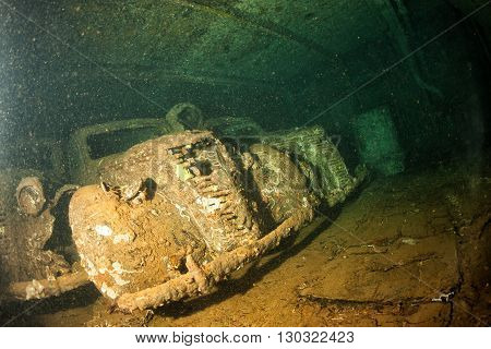 Old Car Inside Ii World War Ship Wreck In Red Sea
