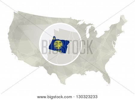 Polygonal Abstract Usa Map With Magnified Oregon State.