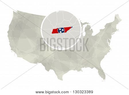 Polygonal Abstract Usa Map With Magnified Tennessee State.