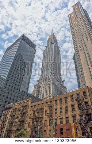 New York - Usa - 11 June 2015 Chrysler Building New York On Cloudy Day