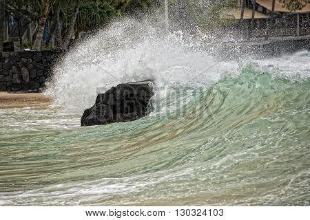 Kona Harbor Sea Waves In Big Island Hawaii