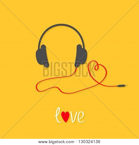 Headphones and red cord in shape of heart. White text love. Flat design icon. Yellow background. Vector illustration