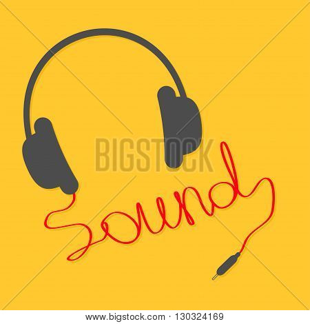Black headphones with red cord in shape of word sound. Music card. Flat design icon Yellow background. Vector illustration