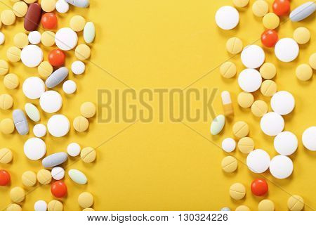 Pharmaceutical. Tablets on the table