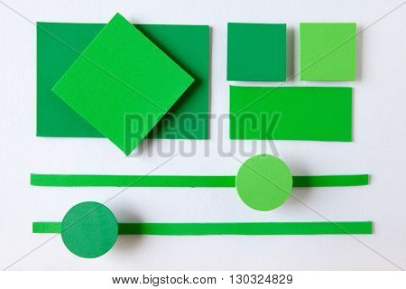 Complementary color background web design imitating the straight lines and curves of the material design and shading paper