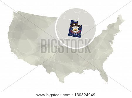 Polygonal Abstract Usa Map With Magnified Utah State.