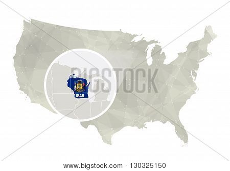 Polygonal Abstract Usa Map With Magnified Wisconsin State.