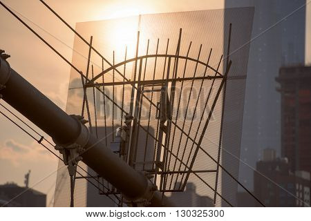 Manhattan Bridge Cables Detail Close Up