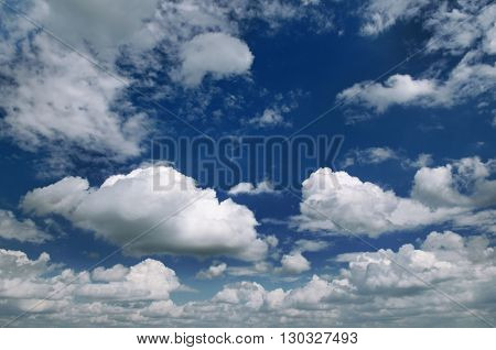 Beautiful blue sky with clouds closeup