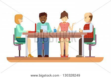 Business briefing. Meeting and corporate office work, team businesspeople, partner and employee, mentor woman. Flat vector illustration