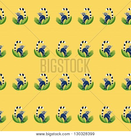 Vector seamless pattern with cartoon lemurs. Yellow blue green colors
