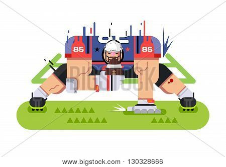American football player. Protection pose, ball and athlete, game and touchdown, flat vector illustration