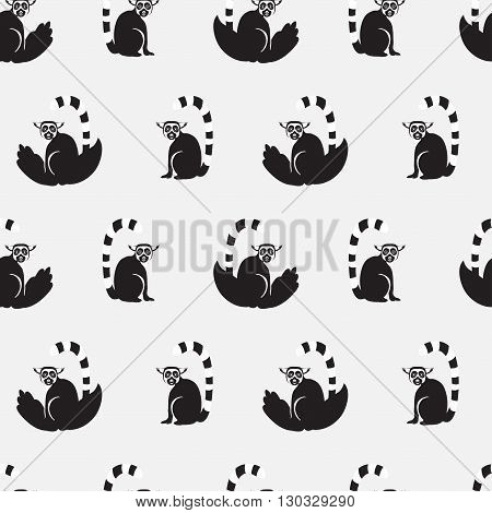 Vector seamless pattern with cartoon lemurs. Gray color
