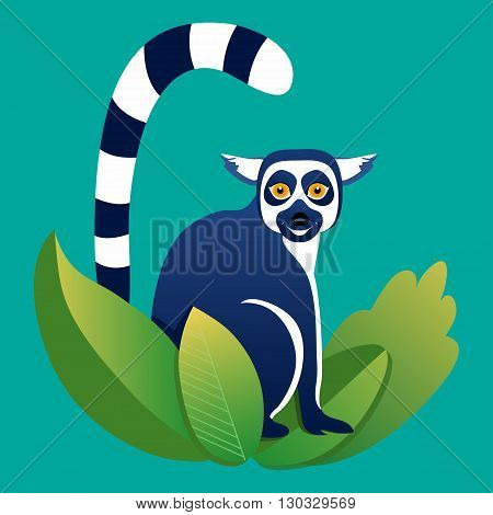 Vector cartoon icon lemur in the grass on blue background