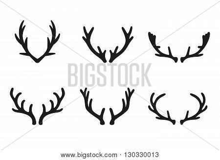 Vector deer antlers black icons set. Deer logo design elements. Set of deer horn. Set of the labels, emblems, logo, badge templates and design elements.