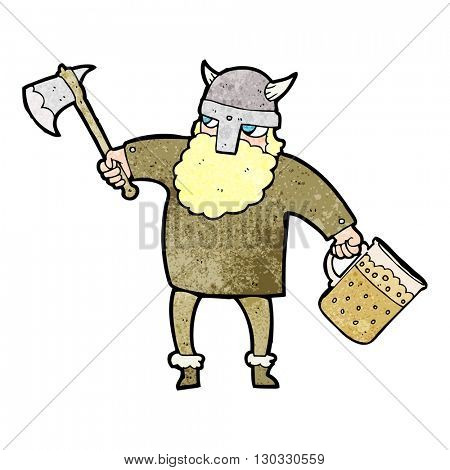 freehand textured cartoon drunk viking