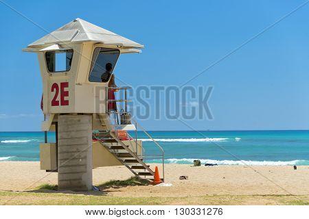 Lifeguard Tower On Waikiki Beach Panorama