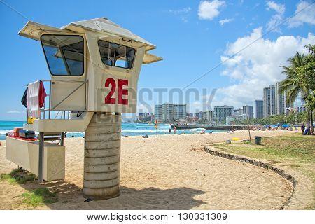 Waikiki Beach Panorama With Rescue Baywatch Tower