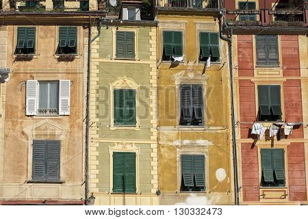 portofino painted houses detail view cityscape panorama