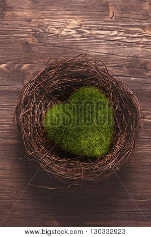 Green moss heart in a nest. Toned image. Selective focus