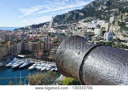 Montecarlo Monaco Panorama Landscape City View With Cannon