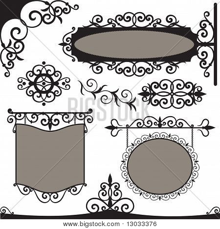 Vector set: wrought iron vintage signs
