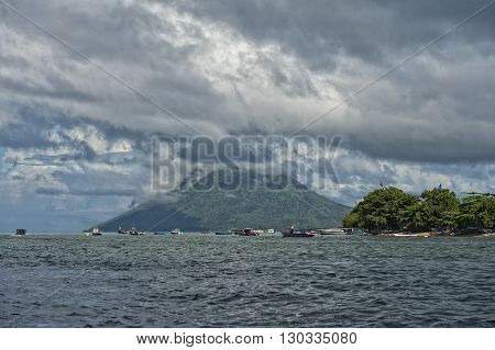 Volcano Behind Indonesian Fishermen Village Tropical Paradise
