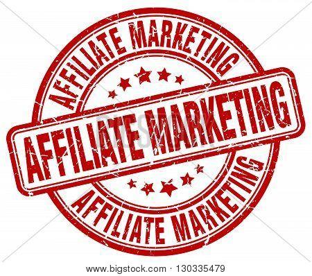affiliate marketing red grunge round vintage rubber stamp