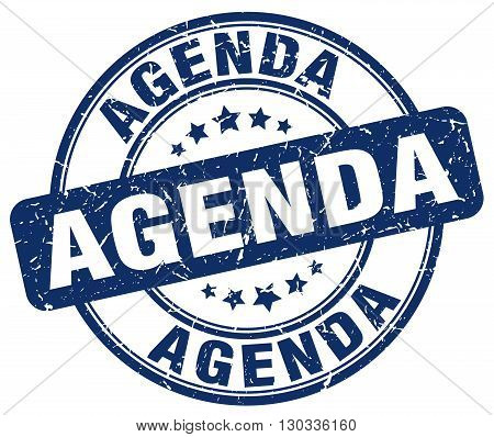 agenda blue grunge round vintage rubber stamp