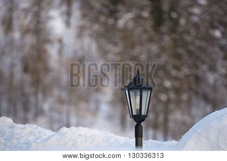 Lampost Covered By Snow