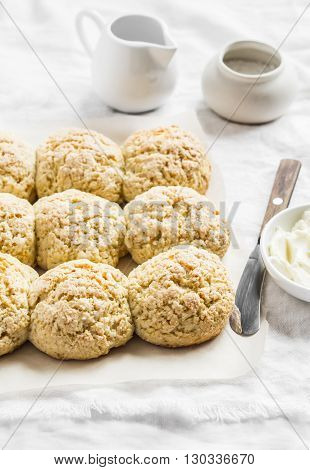 Oatmeal scones on a light background. Healthy food