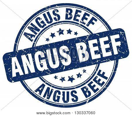 angus beef blue grunge round vintage rubber stamp
