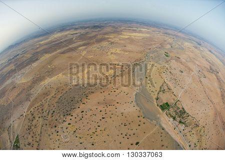 Maroc Marrakech Desert Aerial View From Balloon