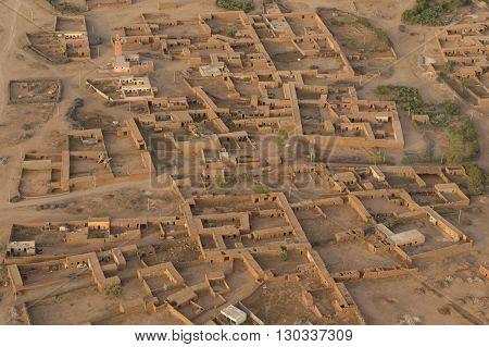Maroc Settlement In The Desert Near Marrakech Aerial View