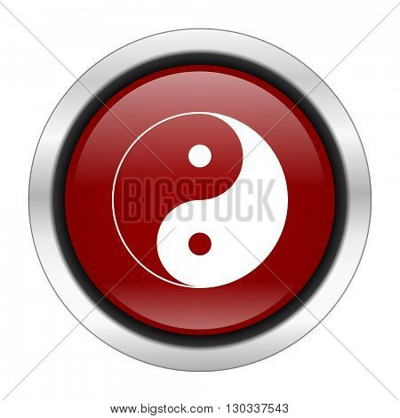 ying yang icon, red round button isolated on white background, web design illustration
