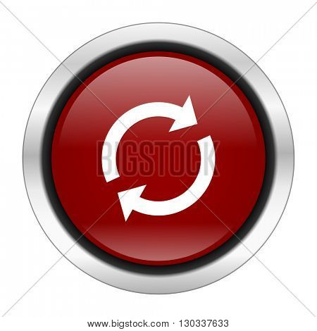 reload icon, red round button isolated on white background, web design illustration