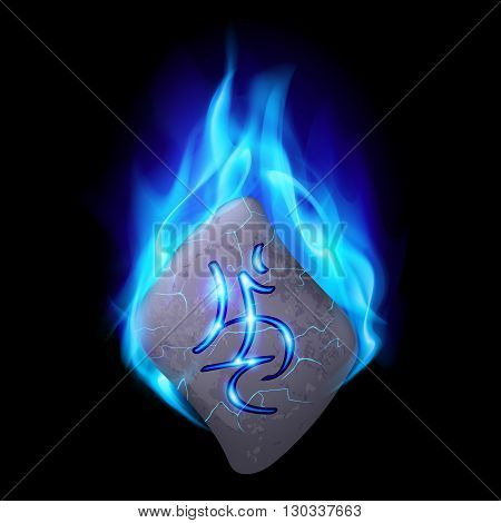 Burning blue flame rune stone with magical spells.