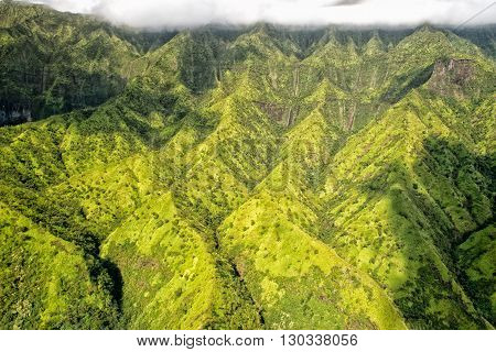 Kauai Green Mountain Aerial View