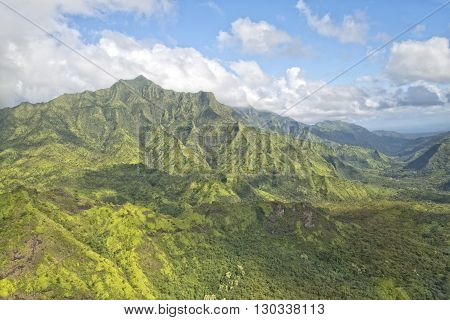 Kauai Hawaii Island Mountains And Canyon Aerial View From Helicopter