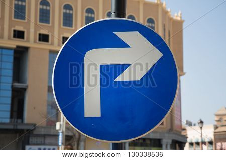 Signal turn right on road, Traffic Signs,traffic signs on road in China