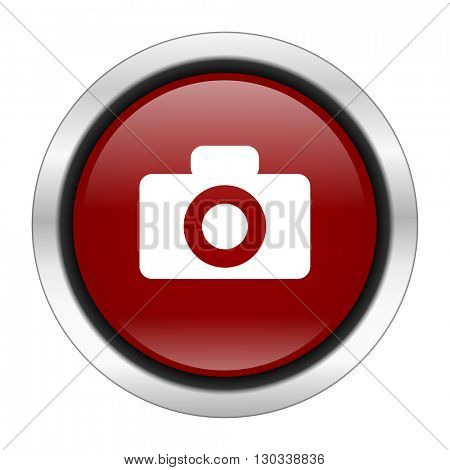 camera icon, red round button isolated on white background, web design illustration