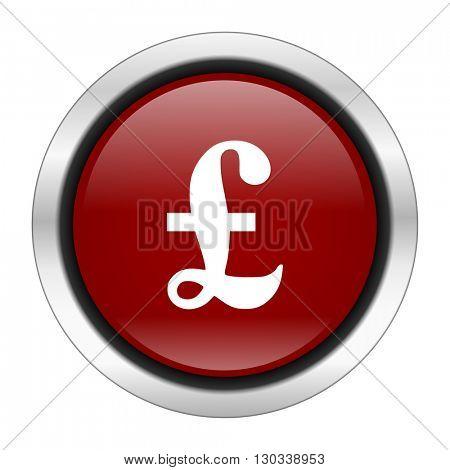 pound icon, red round button isolated on white background, web design illustration