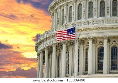 Washington Us Capitol On Dramatic Sky Background